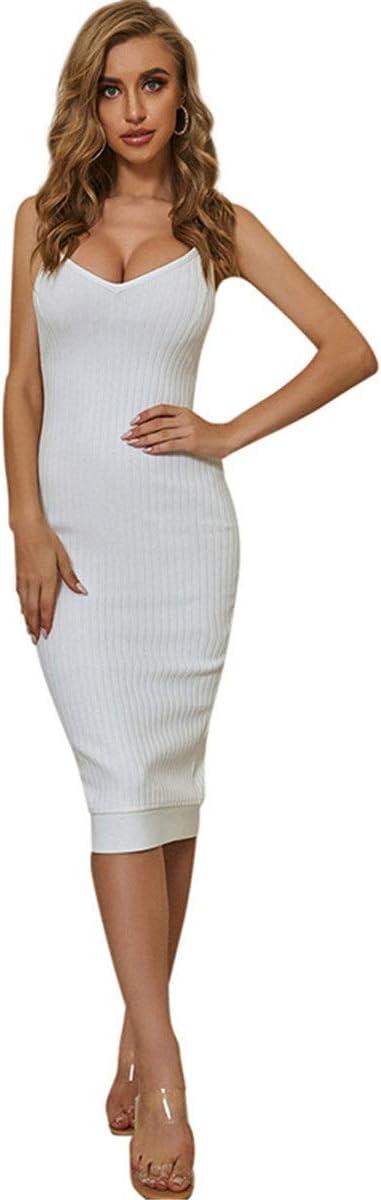 YonCog Ladies Evening Dresses Threaded Knit Sling Skirt Splitting Hole Strip Mid-Length Bandage V-Neck Dress Women's Club & Night Out Dresses (Color : White, Size : Large)