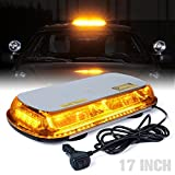 Xprite 17 Inch 44 LED Amber Top Roof Mini Bar Strobe Light High Intensity Law Enforcement Emergency Hazard Flashing Yellow Warning Lights with Magnetic Base for Truck Construction Vehicles Car