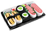 Rainbow Socks - Woman Man Sushi Socks Box Tamago Salmon Cucumber Maki - 3 Pairs