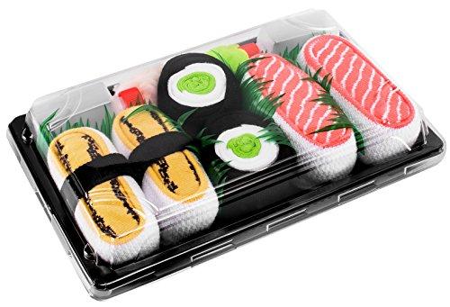 Rainbow Socks - Mujer Hombre Calcetines Sushi Tamago Salmón Maki de Pepino - 3 Pares - Tamaño 36-40