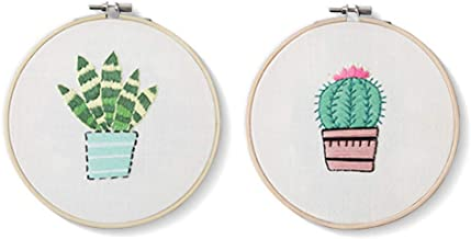 2 Pack Cross Stitch Kits Flowers Palm Catus Plant Stamped Patterns Craft Supplies for Kids Embroidery Beginner Starter (Cactus)
