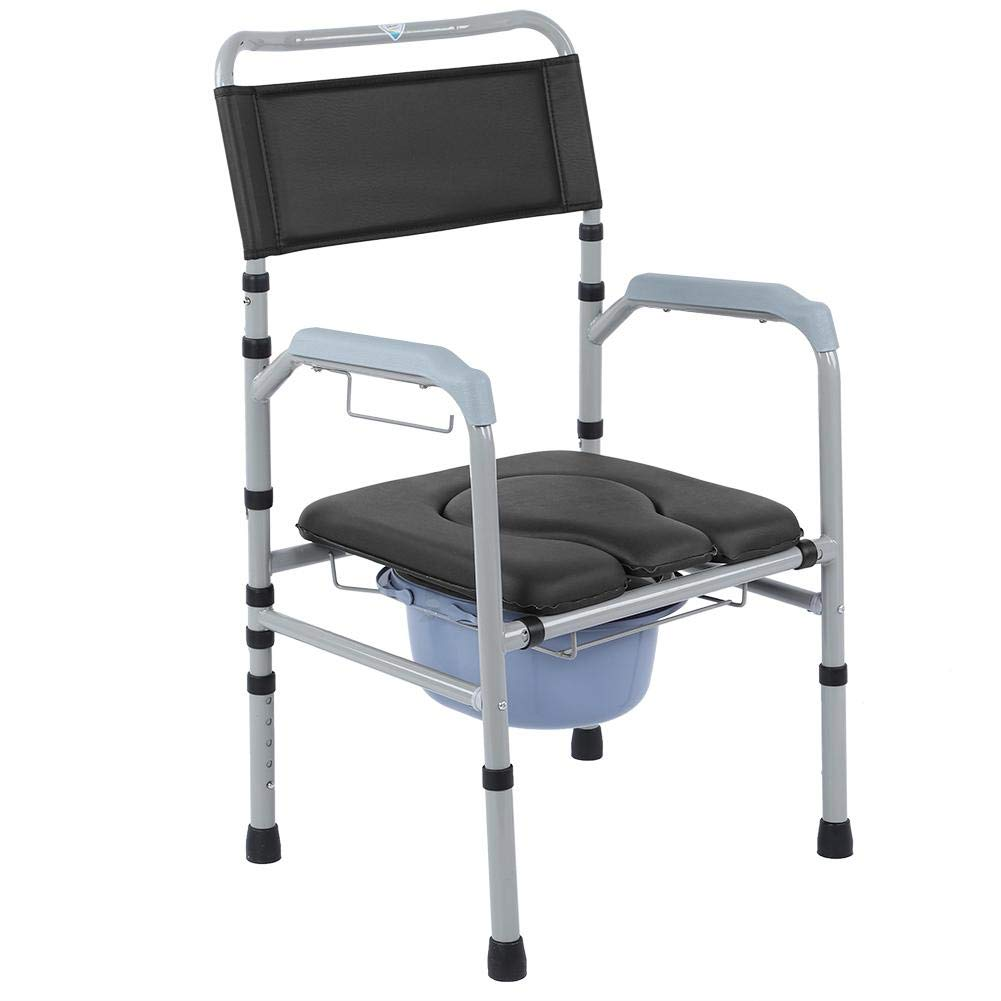 Elderly Mobile Toilet,Aluminum Alloy Anti-Slip Adult Folding Toilet Bedside  Bathroom Chair Toilet Seat Commode Chair with Removable Pot Adjustable