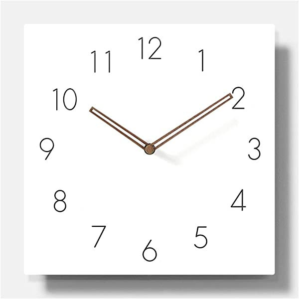 11 4 White Square Non Ticking Wooden Wall Clock Simple Modern Scandinivian Design Numbers