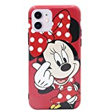 MC Fashion iPhone 11 Case, Cute Vibrant Glossy IMD Finger Heart Cartoon Characters Case, Slim Fit Black Bumper Full-Body Soft Protective TPU Case for Apple iPhone 11 6.1 inch 2019 (Minnie Mouse)