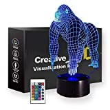 3D Gorilla Night Light, Baby Gorilla Gifts, Bedside Table Lamps led Lamp 7 Colors Change with Remote Control & Touch Control, Home Decor Acrylic Plate Smart Dimmer Desk Lamps for Kids Baby Bedroom