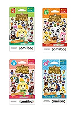 Nintendo Animal Crossing amiibo Cards Series 1, 2, 3, 4 for Nintendo Wii U and 3DS, 1-Pack (6 Cards/Pack) (Bundle) Includes 24 Cards Total