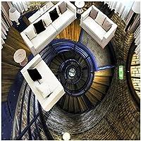 カスタム3Dスパイラル階段床壁画モダンアート壁紙ステッカー着用滑り止め防水増粘自己接着剤-200x140cm/79x55in