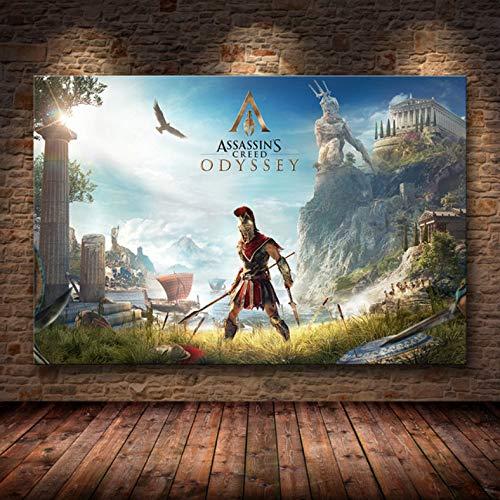 Sin Marco Cuadros 40X50Cm - Assassin'S Creed Odyssey Origen Poster Decoración Pintura sobre Lienzo De Alta Definición Lienzo Pintura Arte Carteles E Impresiones,Wkh-386-1