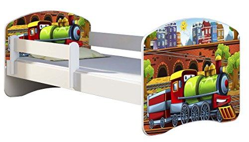 Kinderbett Jugendbett mit einer Schublade und Matratze Weiß ACMA II 140 160 180 40 Design (160x80 cm, 44 Lokomotive)