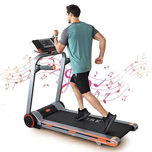 ISE Tapis de Course Fitness Electrique Pliable, Vitesse Réglable 1 à 18 Km/h, Puissance 1.25 HP, écran LCD avec 12 Programmes d'exercices, Inclinaison, Bluetooth + APP, Haut-parleurs Intégré, SY-T4602