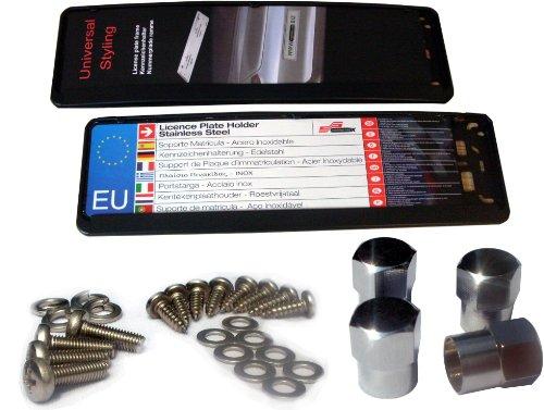 EDELSIGN - Kurz-Kennzeichenhalter Mod. EVEN 460 SET (2 Stück) - TOP Qualität, auch für gebogene Stoßstangen geeignet, inkl. 4 x Chrom Ventilkappen und Edelstahl Befestigungsmaterial. Passend für alle Kurz Kennzeichen 46 x 11 cm