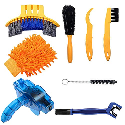 Bike Cleaning Tools Set (8 Pack), Bicycle Clean Brush Kit Suitable for Mountain, Road, City, Hybrid, BMX Bike and Folding Bike Chain/Crank/Sprcket/Tire Corner Rust Blot Dirt Clean | Durable/Practical