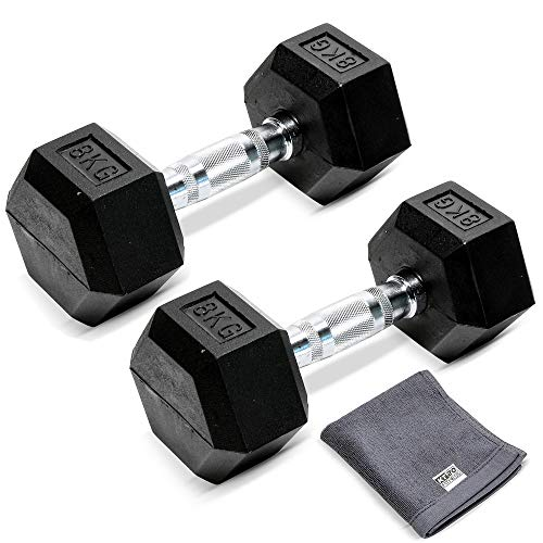 KT20 10KG or 8KG Pair of Rubber Encased Hexagonal Dumbbells | Anti-Rolling, Home Gym Equipment, Fitness Exercise, Workout, Cardio, Free Weight, Lifting Set Weights for Men and Women (2x 8KG)
