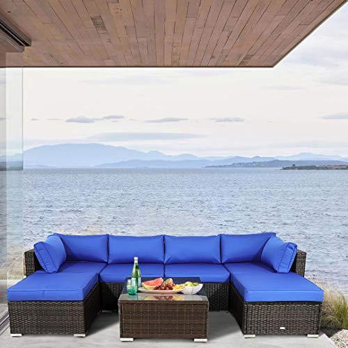 JETIME Outdoor Rattan Sofa Set