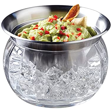 Jumbl Stainless Steel Dip Bowl w/Acrylic Vented Ice Chamber Base Clear
