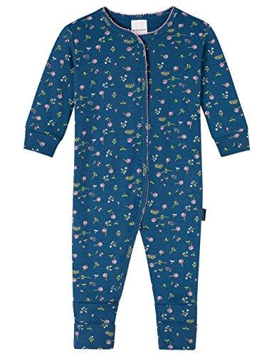 Schiesser Schiesser Baby-Mädchen Anzug mit Vario Fuß Zweiteiliger Schlafanzug, Blau (Dunkelblau 803), 62 (Herstellergröße: 062)