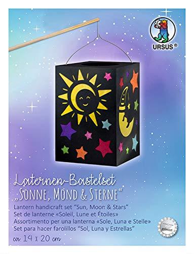 Ursus 2370099 - Laternen Bastelset Sonne, Mond & Sterne, ca. 14 x 20 cm, Set mit Rohling, Laternendeckel und -boden aus schwarzem Fotokarton, Tragebügel und Bastelanleitung, ideal für den Laternenlauf