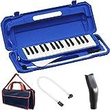 KC 鍵盤ハーモニカ (メロディーピアノ) ブルー P3001-32K/BL + 専用バッグ[Navy Blue] + 予備ホース + 予備吹き口 セット