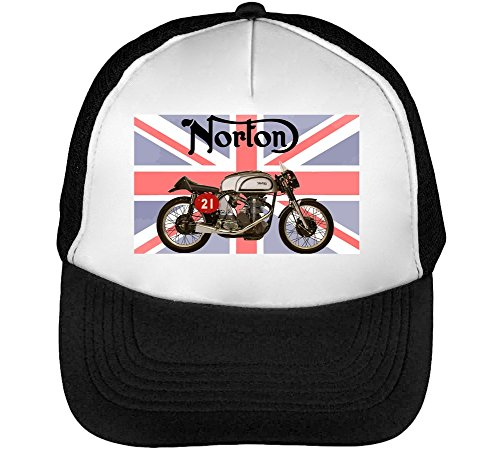 Norton Bike Men's Baseball Trucker Cap Hat Snapback Black White