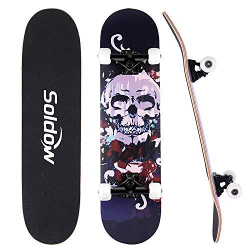 Soldow Skateboard Completo 80x20CM per Principianti e Professionisti, Standard Skateboard in 7 Strati Acero Canadese per Bambini/ Ragazzi/ Adulti, Cranio Teschio Double Kick Concave Skateboard
