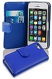 Cadorabo Funda Libro para Apple iPhone 5C en Azul Brillante - Cubierta Proteccíon de Cuero Sintético Liso con Tarjetero y Función de Suporte - Etui Case Cover Carcasa
