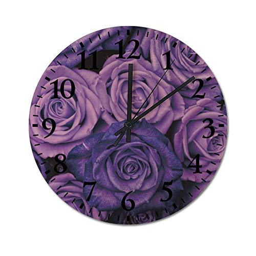TattyaKoushi Fashion Wooden Wall Clocks Home Decor Purple Rose Silent