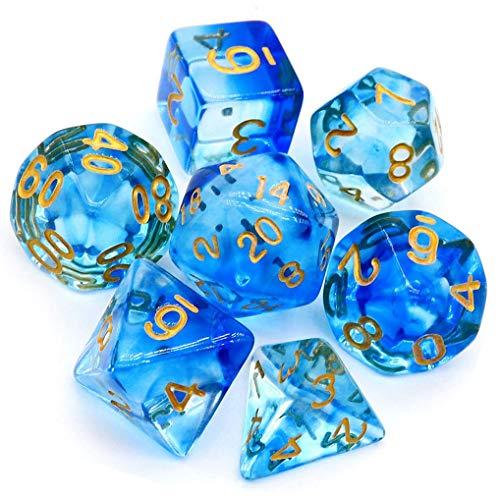 Yourandoll Dados poliedricos de doble color, 16 mm, D20, D12, D10, D8, D6, D4, para Dungeons y Dragones RPG MTG DND, juego de mesa (azul transparente 1)