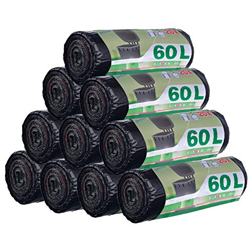 200 pièces 60L Sacs Poubelle Anti-Fuite Ultra Résistant Poignées Coulissants Lot de 10 rouleaux Taille Large 71 x 64 cm Noir