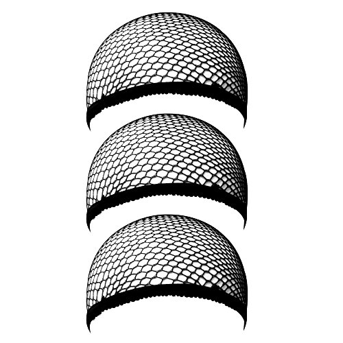 eBoot 3 Pack Wig Caps, Black Mesh