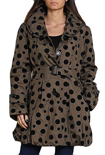 si moda Damen Jacke Übergangsmantel Trench Coat Kurzmantel Halbmantel Ballon Optik, Farbe:Schwarz, Größe:L