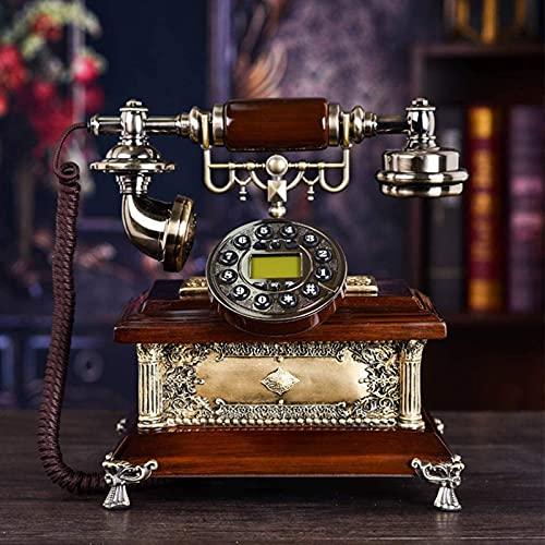 JDJFDKSFH Inicio Línea Fija Fija, teléfono con botón de Entrada, Auriculares de Metal Base de Madera Maciza Diseño Antiguo Bienvenido