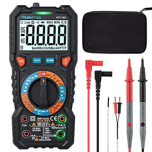 Digital Multimeter Tilswall mit 6000 Counts, CAT III 1000 V, CAT IV 600 V LED Strommessgerät Temperaturmessung Tragbare Messung für Zuhause, Elektriker, Tasche