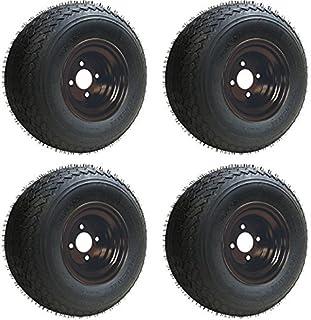 18x8.50-8 GTX OEM Golf Cart BLACK Wheels and Golf Cart Tires Combo - Set of 4