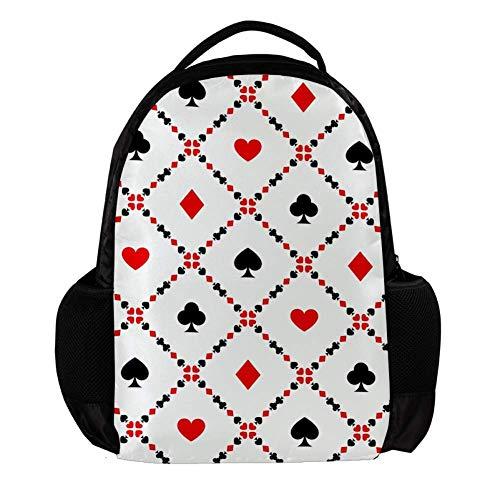 TIZORAX Mochila escolar con tarjetas de póquer de juego para la escuela, mochila de viaje, bolsa de viaje para portátil