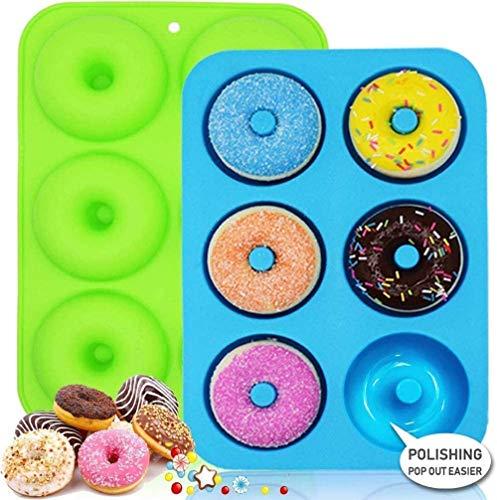LURICO 2 stücks Silikon Donut Formen, 6 Hohlraum antihaftbeschichtet Backform zum Backen, ideal für Kekse, Bagels, Muffins, BPA-frei, Geschirrspüler, Ofen, Mikrowelle, Gefrierschrank sicher.