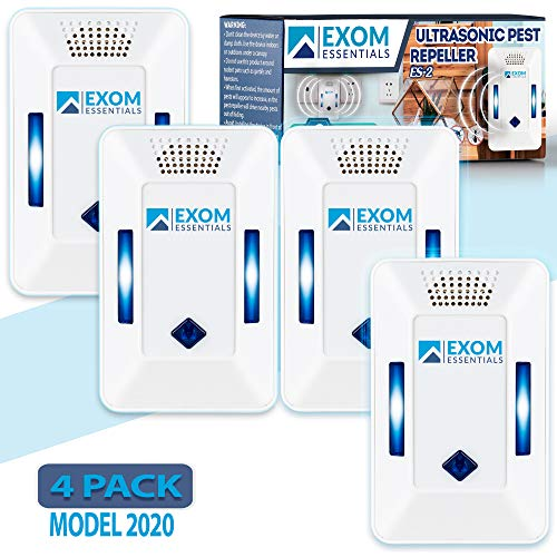 ES-2, (4Pack) Ultrasonic Pest Repeller Wall Plug-in, Most Effective than Repellents, Get Rid Of - Roaches, Ants, Spiders, Bed Bugs, Мosquito, insects, Fleas, Fly, Rodents, Squirrels, Mice, Rats, Bats