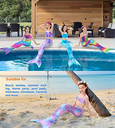 Hifunbay Kids Girls Mermaid Swimming Costume Included 3PCS Swimmable Bikini Swimsuit and Flower Garland Headband (130(6-7Y), DH29-B07)