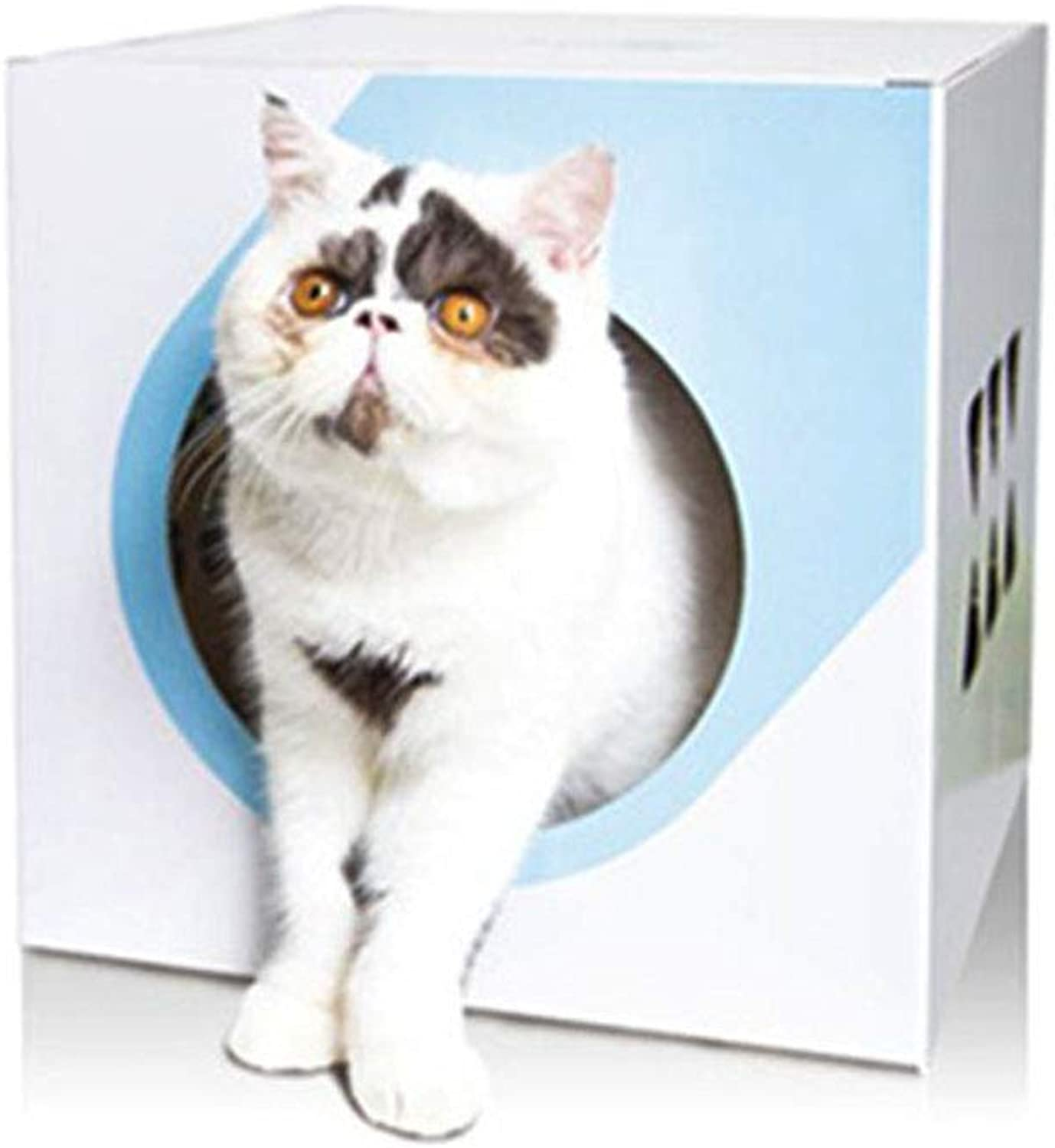Cat Cube Pet House Condo Hideout Bed Jungle Combo Tunnel Hut Need to Assemble Yourself MultiPurpose Cat Corrugated Paper Scratch Board Curious Toys bluee