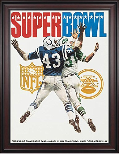 "1969 Jets vs Colts 36"" x 48"" Framed Canvas Super Bowl III Program - Original NFL Art and Prints"
