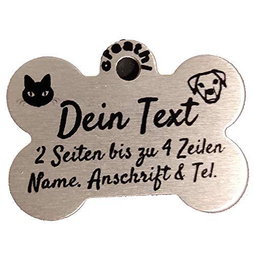 Creative Things (by Anja Betz) Anhänger fürs Halsband Form: Knochen personalisierbar Farbe/Text/Schrift. (Katzenmarke/Hundemarke) von creathi