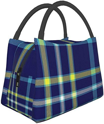Bolsa de almuerzo aislada reutilizable, tartán con bandera moderna de Alaska Bolsa de almuerzo...