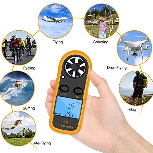 Lorsoul GM816 anémomètre numérique Compteur Anémomètre Vitesse, LCD Portable Airflow Anémomètre Thermomètre, sans Batterris