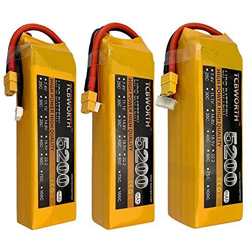 CALALEIE Grafeno baterías LiPo 7.4V 11.1V 14.8V22.2V RC LiPo batería 5200mAh 75C 2S 3S 4S 5S6S for RC aviones no tripulados Avión Quadrotor Piezas de montaje accesorios de juguete