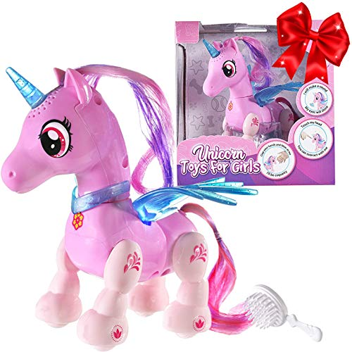 Unicorn Toys for Girls Ages 3+ - Perfect Unicorn Gifts for Girls -Interactive Hand Motion Gestures, Walking and Dancing Robot Pet with Lights, Sounds- Cute Christmas, Birthday Gifts for Little Girls