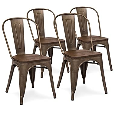 Best Choice Products Set Of 4 Industrial Distressed Metal Bistro Dining Side Chairs w/Wood Seat (Copper Bronze)