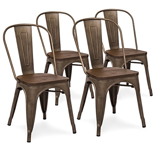 Best Choice Products Set Of 4 Industrial Distressed Metal Bistro Dining Side Chairs w/ Wooden Seat