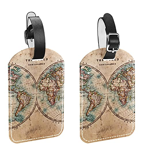 Juego de 2 etiquetas para equipaje de viaje con diseño de mapa del viejo mundo vintage retro y etiqueta de equipaje con correa segura