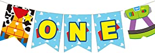 Toy Inspired Story First Birthday Banner Handmade 1st Birthday Party Decorations High Chair Banner,Woody Buzz Baby Boy Pho...