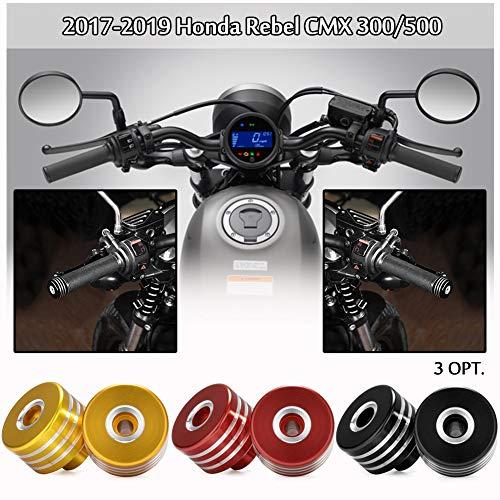 CMX500 CMX300 Motocicleta CNC Mango de Aluminio Tapones de los Extremos del Manillar Puños del Manillar Tapa de la Tapa Deslizante para 2017 2018 2019 Honda Rebel CMX 300 500 (Negro)