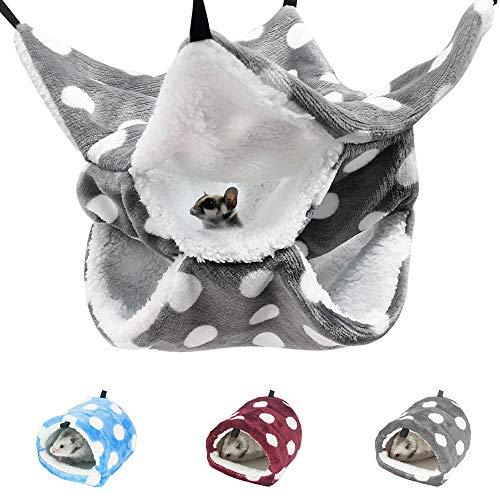 XM-ZHHY Hamaca pequeña jaula para mascotas, hamaca de 3 capas, hamaca para hamster, accesorios de jaula para hámster, hamaca cálida para cobayas, loros, hurón, ardilla, rata y dormir (gris)
